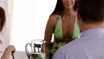 Sweetheart captivates man with moist blowjob